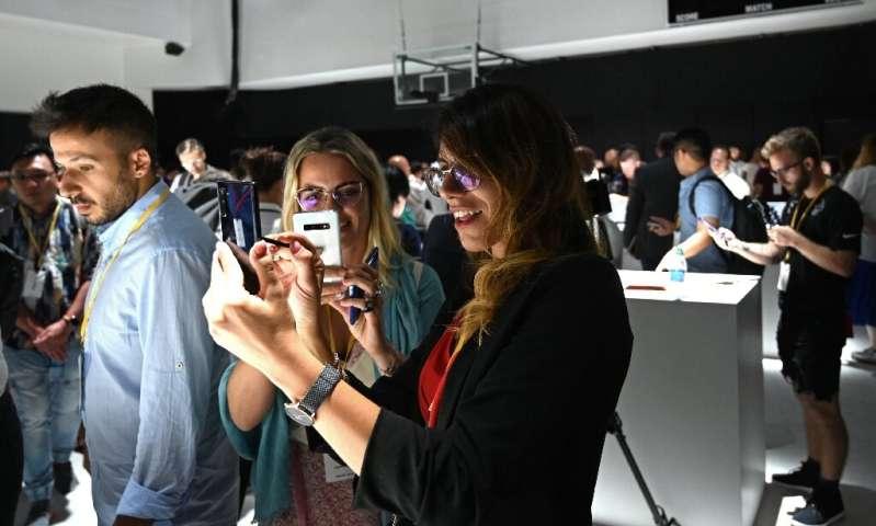 Le Samsung Galaxy Note 10 était exposé après son lancement lors d'un événement à Brooklyn, New York, le 7 août.