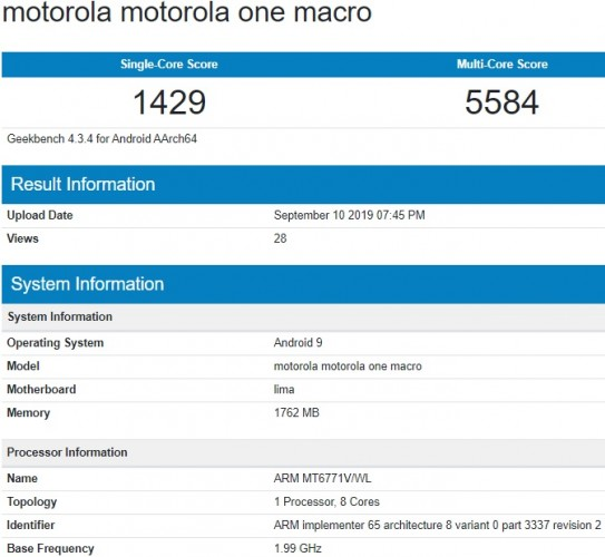 Motorola One Macro passe à travers Geekbench, surfaces d'images en direct