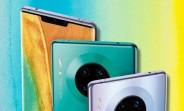 Une image promotionnelle de Huawei Mate 30 Pro qui présente une fuite montre un appareil photo à quatre places à l'arrière