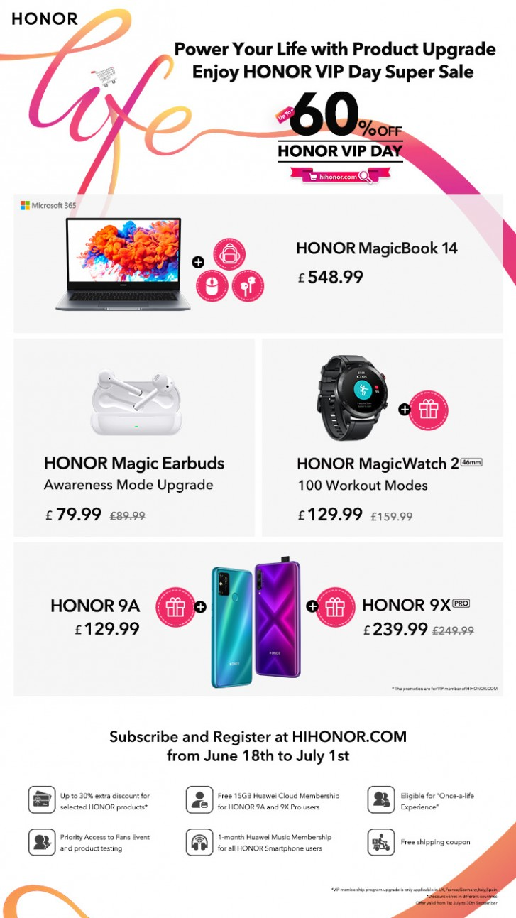 Honor 9A sera disponible en Europe à partir du 1er juillet, Honor organise une journée de vente VIP