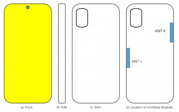 Schémas UW du Samsung Galaxy A71s: placement de l'antenne mmWave