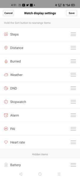 Paramètres d'affichage de la montre