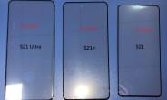 Les panneaux avant de la famille Samsung Galaxy S21 fuient, voici à quoi ils ressemblent côte à côte