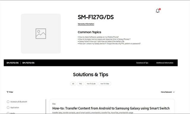 Page d'assistance du Samsung Galaxy F12