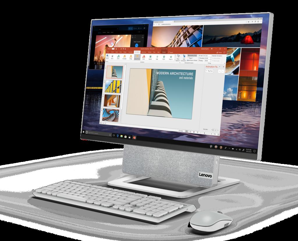 L'ordinateur de bureau tout-en-un Lenovo Yoga AIO 7 est doté d'une charnière rotative