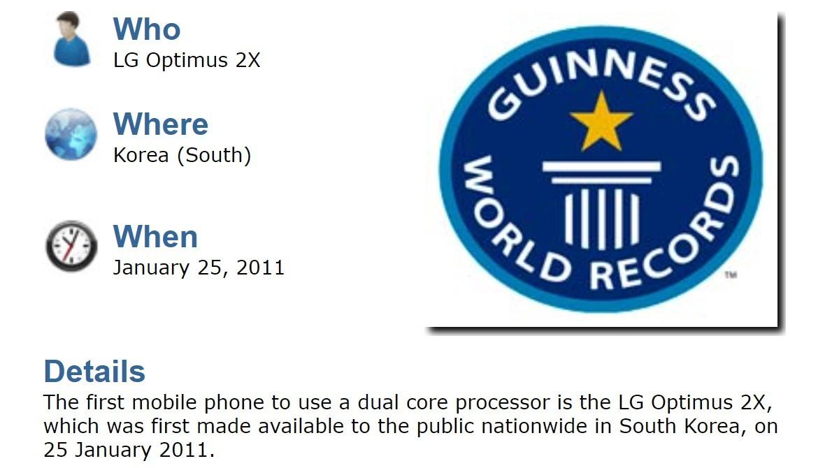 Le LG Optimus 2X a été le premier téléphone doté d'un processeur double cœur