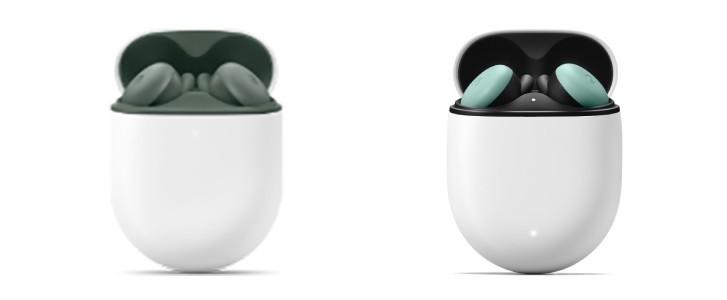 Pixel Buds A (à gauche) par rapport aux Pixel Buds de deuxième génération (à droite, couleur Quite Mint)