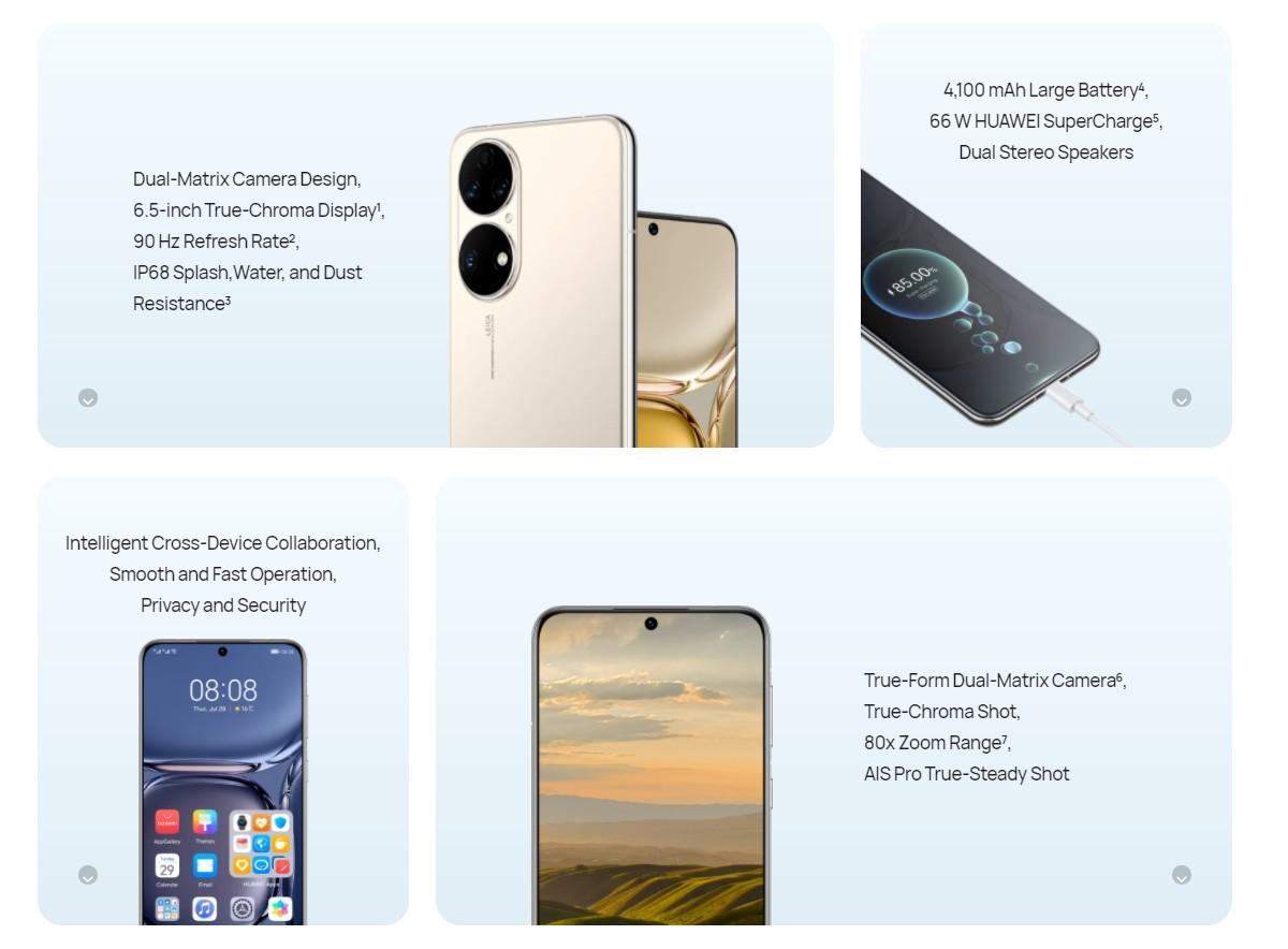 Principales caractéristiques du Huawei P50