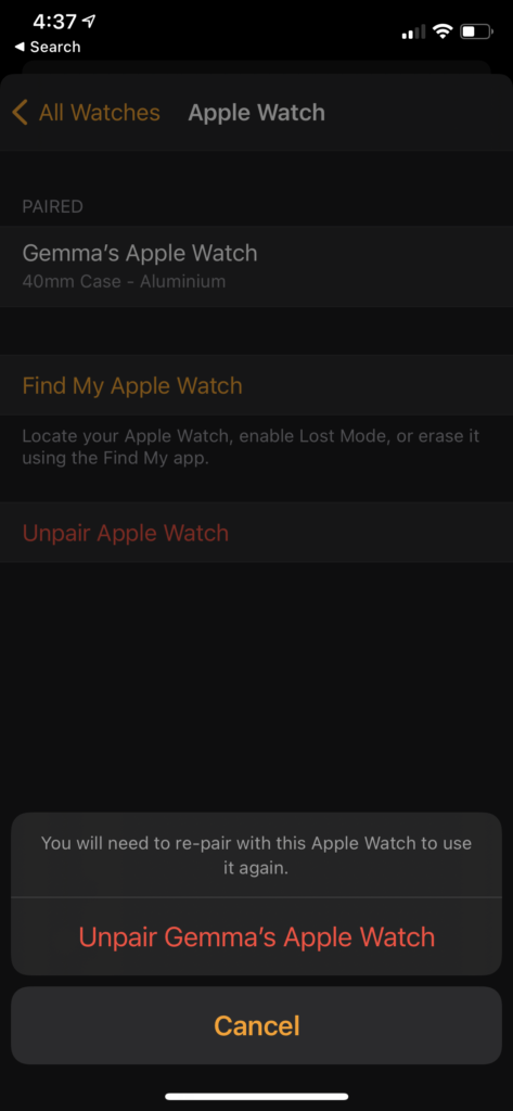 dissocier Apple Watch appuyez sur Dissocier Apple Watch
