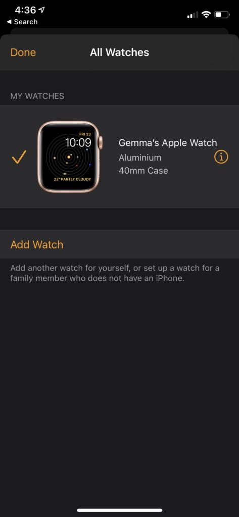dissocier Apple Watch appuyez sur i